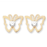 9ct Gold Cubic Zirconia set small flat Butterfly stud earrings